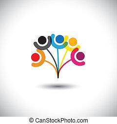 concept, gezin, &, het tonen, boompje, bonding, vector, ...