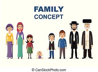 concept, gezin, joodse , groot, vrijstaand, samen, vector, illustratie, witte , spotprent