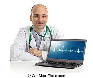 concept, gezondheid, laptop., care, arts