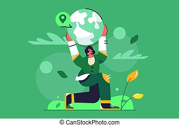 Concept girl holding planet earth in her hands