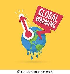 concept., global, planète, thermomètre, la terre, chauffage