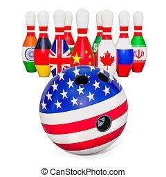 concept., global, político, fazendo, conflito, 3d