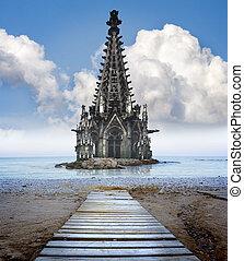 concept, global, warming., eau, couler, mer, moitié, cathédrale