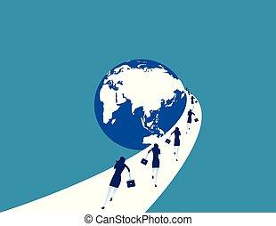 concept, globe., courant, femme affaires, vecteur, illustration., business