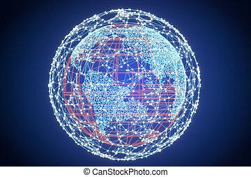 concept, globe global, rendre, technologie, la terre, 3d