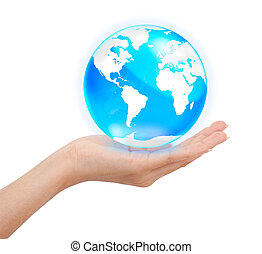 concept, globe, hand, kristal, vasthouden, wereld, sparen