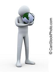 concept, globe, homme, la terre, sauver, hug., 3d