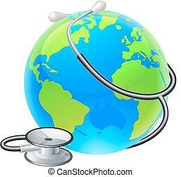 concept, globe mondial, santé, la terre, stéthoscope