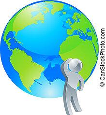 concept, globe, op, het kijken, persoon, zilver