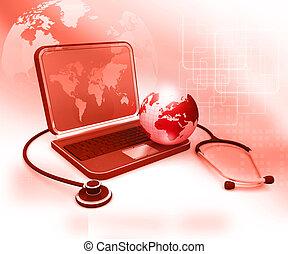 concept, globe, ordinateur portable, global, stéthoscope, monde médical