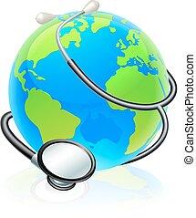 concept, globe, santé, mondiale, stéthoscope, la terre