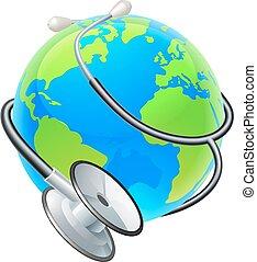 concept, globe, santé, stéthoscope, la terre, mondiale