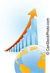 concept, globl, croissance affaires