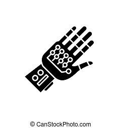 concept, ??gloves, isolé, cyber, signe, arrière-plan., vecteur, noir, illustration, icône, symbole