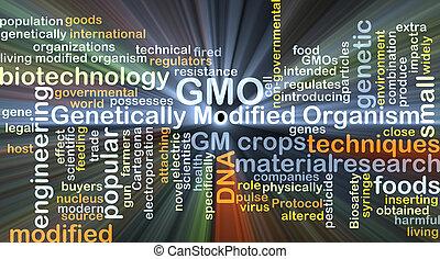 concept, gmo, modifié, incandescent, fond, génétiquement, ...