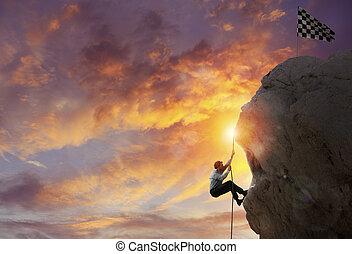 concept, goal., bereiken, bewjizen, carrière, zakenman, moeilijk