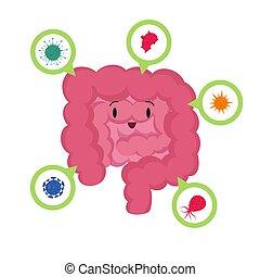 concept, goed, darm, bacterias, medisch, vector, microscopisch, menselijk, probiotics, spotprent, vrolijke