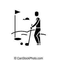 concept, golf speler, vrijstaand, illustratie, meldingsbord, achtergrond., vector, black , pictogram, symbool