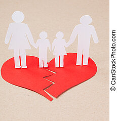 concept, gosses, famille, gens, divorce, effet, découpage, papier, mains