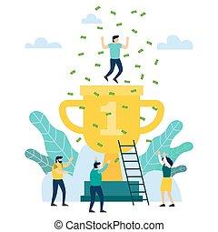 concept, goud, mensen, groot, teamwork., overwinning, trophy., vrolijke