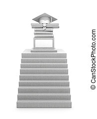Concept graduate, education. A staircase leading to a pedestal with books, diploma and a graduate hat. Concrete construction. 3d illustration