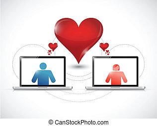 concept., graficzny, online datujący, laptop.