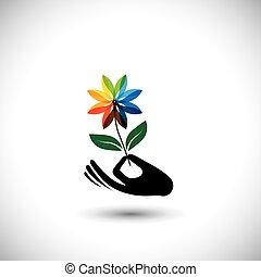 concept, &, grafisch, iconen, van een vrouw, -, hand, vector, bloem, spa