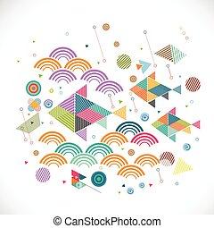 concept, grafisch, versiering, abstract, illustratie, creatief, water, vector, geometrisch, visje
