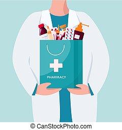 concept., grand, debout, pharmacien, tenant sac, pharmacie