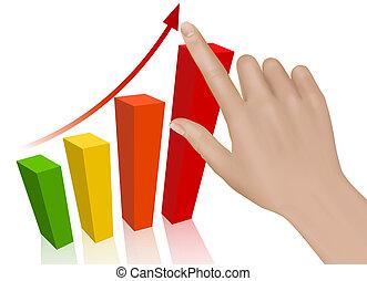 concept, graph., success., vector., hand