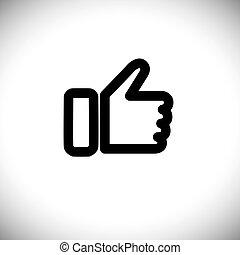 concept, graphique, aimer, -, main, vecteur, noir, ligne, icône