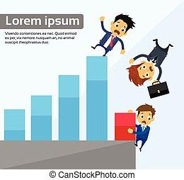 concept, graphique barre, bas, hommes affaires, automne, financier, crise
