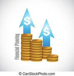 concept, graphique financier, pièces, signe, planification