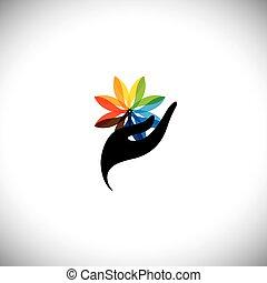 concept, &, graphique, icônes, femme, -, main, vecteur, fleur, spa