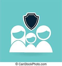 concept, graphisme, assurance, famille