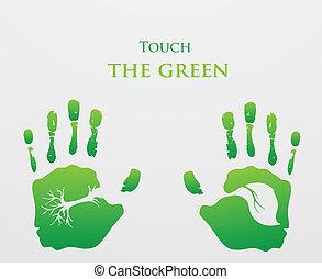 concept., green., ecologia, pensare