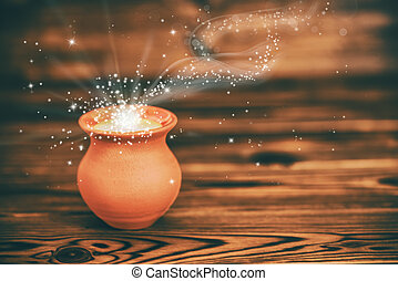 concept greeting card of clay pot with mystical miracle ...