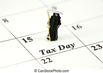 Concept: Grim Reaper on calendar on April 15 (Tax Day) -...