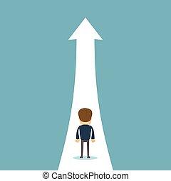 concept, groei, zakelijk, vector, position., zakenman, steegjes, hoger