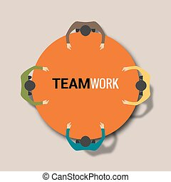 concept, groep, aan het werk werkkring, mensen, werken, handel team, tafel.