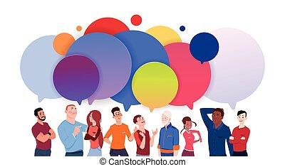 concept, groep, kleurrijke, mensen, media, mannen, anders, praatje, communicatie, bellen, vrouwen, spotprent, sociaal