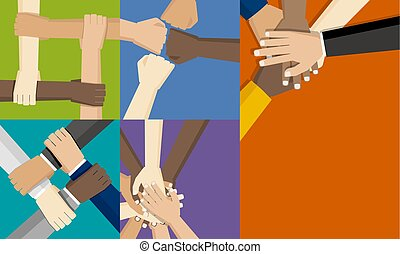 concept, groep, mensen, samen, hun, vector, het putten, illustratie, handen, ontwerp, teamwork