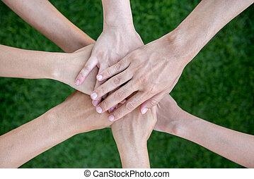 concept, groep, multiethnic, mensen, anders, teamwork
