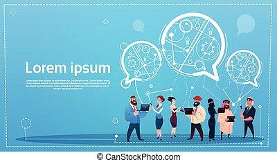 concept, groep, netwerk, mensen, communicatie, gadgets, malen, vermalen, hardloop, praatje, sociaal, gebruik, bellen