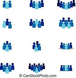 concept, groep, netwerk, mensen, sociaal, symbool., gemeenschap, bewindvoering, team, logo, icon., of