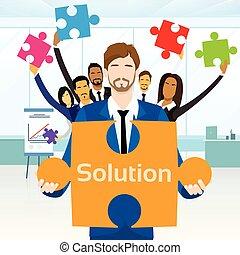 concept, groep, zakenlui, raadsel, jigsaw, houden, stuk