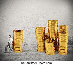 concept, groupe, argent, pièces, argent., difficulté, tas, homme affaires, économie, mouvements