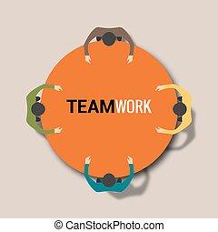 concept, groupe, bureau fonctionnant, gens, travail, equipe affaires, table.