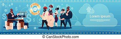 concept, groupe, finance, professionnels, mise jour, réalité, usure, flèche, numérique, reussite, lunettes