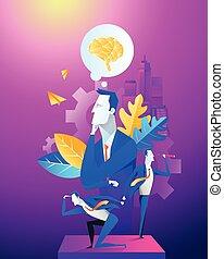 concept, groupe, fonctionnement, bureau affaires, work., team., homme affaires, illustration.